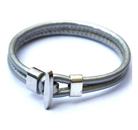 Läderarmband Anchor Silver