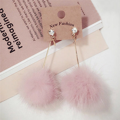 Örhängen Handmade Dangling Pink Fur Pom