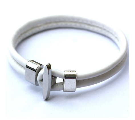 Läderarmband Anchor White