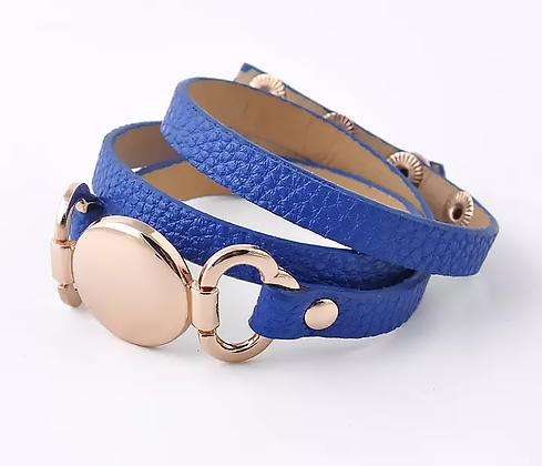 Läderarmband Gold Blue