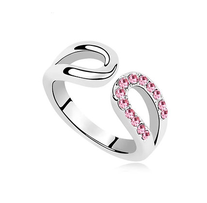 Ring Horseshoe Light Rose Crystal