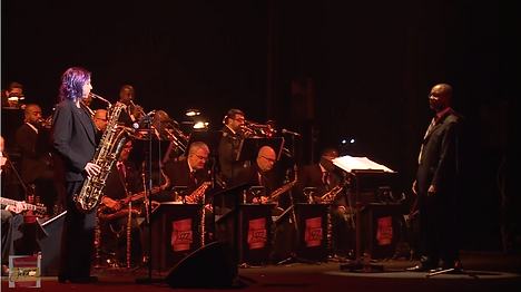 Leigh Pilzer with the Smithsonian Jazz Masterworks Orchestra in Tokyo.