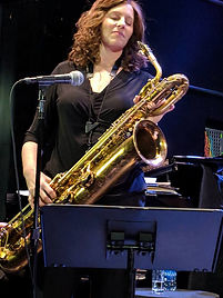 Leigh Pilzer with her baritone saxophone at Dizzy's. Photo by Pat Gallas-Christie.