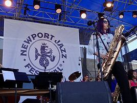 Leigh Pilzer playing baritone saxophone with The DIVA Jazz Orchestra at the Newport Jazz Festival