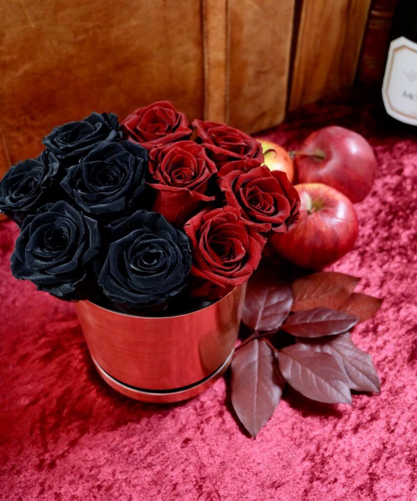 Black & Red Rose Pot