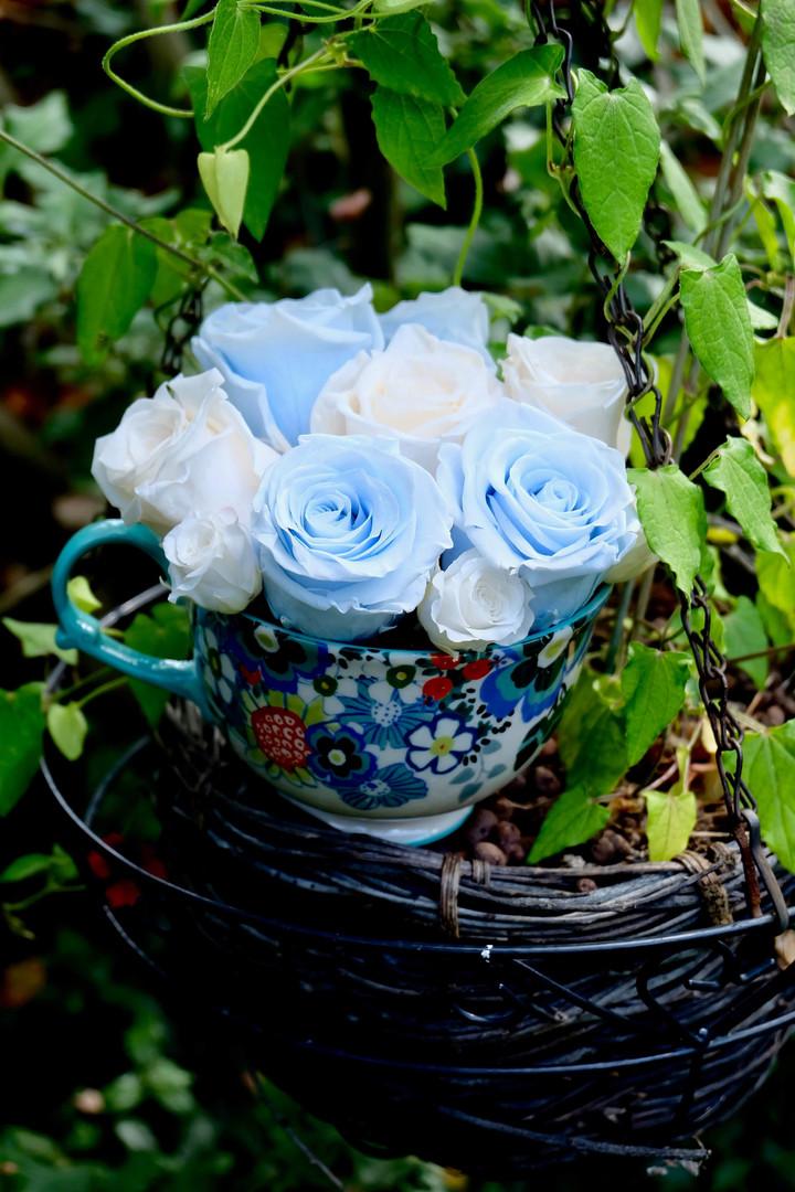 Blue & White Rose Teacup