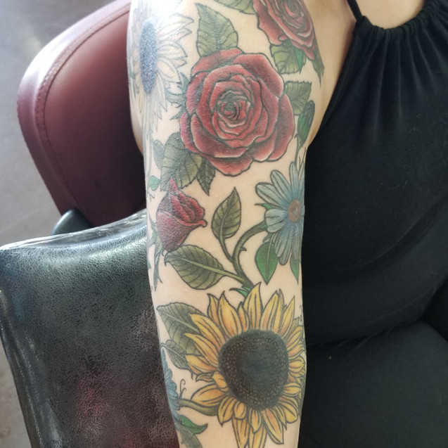 Flower Half-Sleeve tattoo
