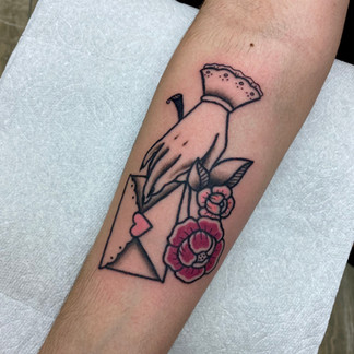 Traditional letter tattoo