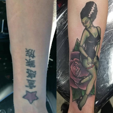 Pin up Girl Coverup Tattoo
