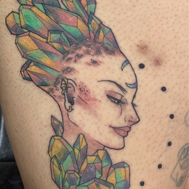Colorful crystals tattoo