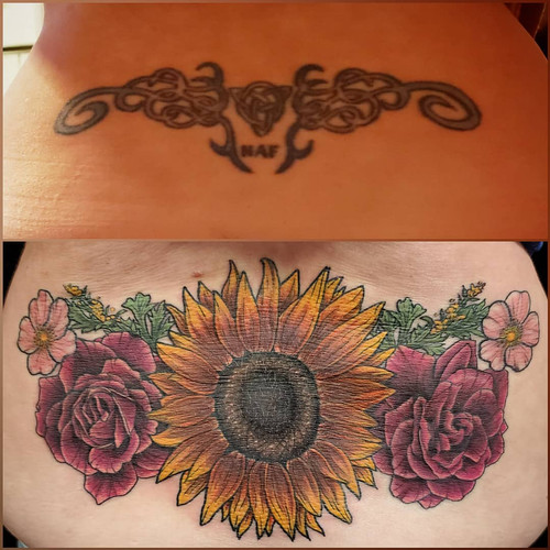 sunflower lower back tattoo