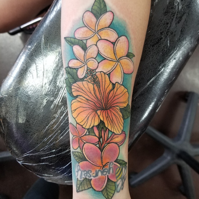 Hawaiian Flowers Tattoo