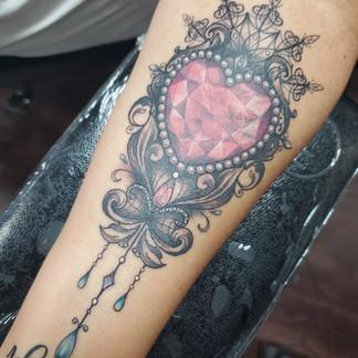 Heart jewel tattoo