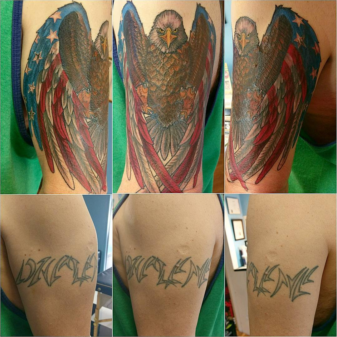 Large Name Coverup Tattoo