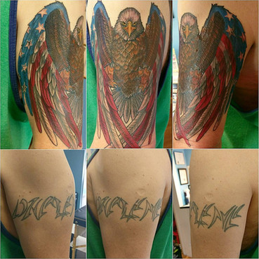 Large Name Coverup Tattoo