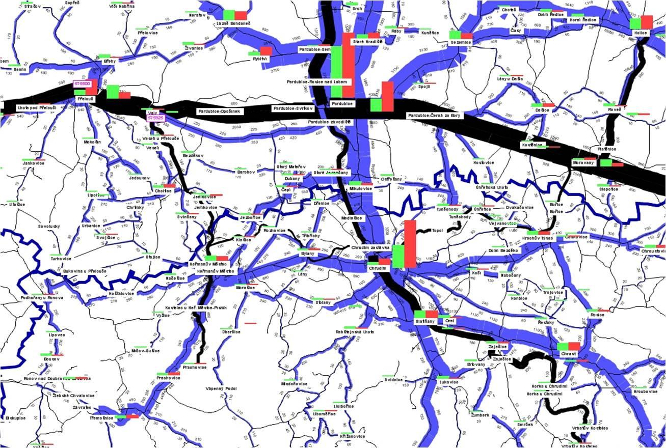 Pridelenie matice prepravných vzťahov pre autobus a vlak
