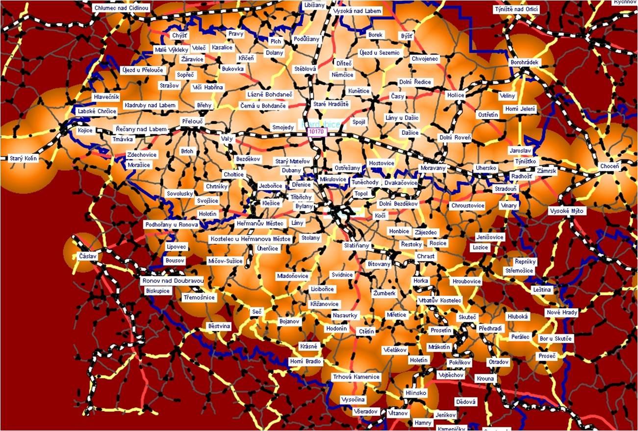 Izochróny Pardubice, graficky znázornená dostupnosť