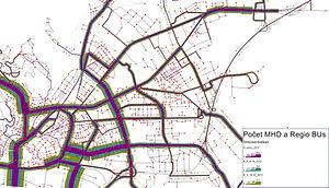 Počty HD a regionálnych autobusov pre jednotlivé fázy dňa