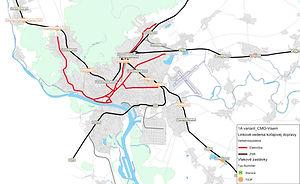 V1A modelovaný variant CMO VISEM Linkove vedenie kolajovej dopravy