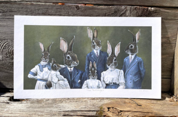Original Art of bunny family by Liz Wiesel