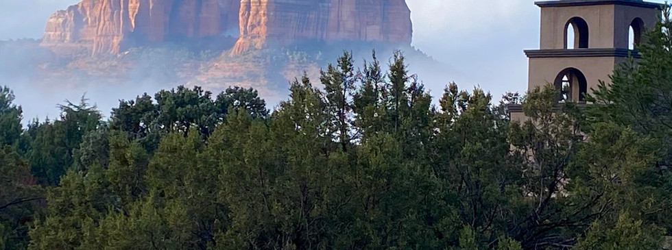 cathedral rock in the clouds
