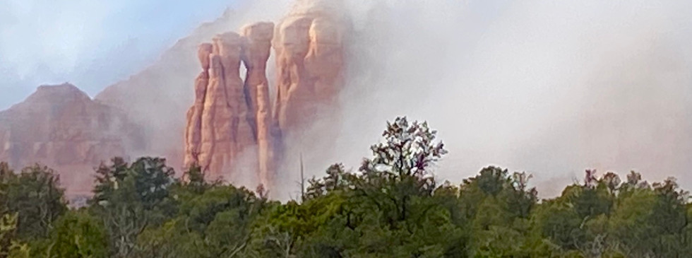 red rocks in the mist