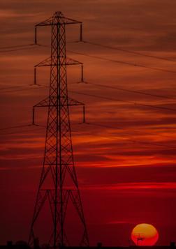 Pylon with low sunset
