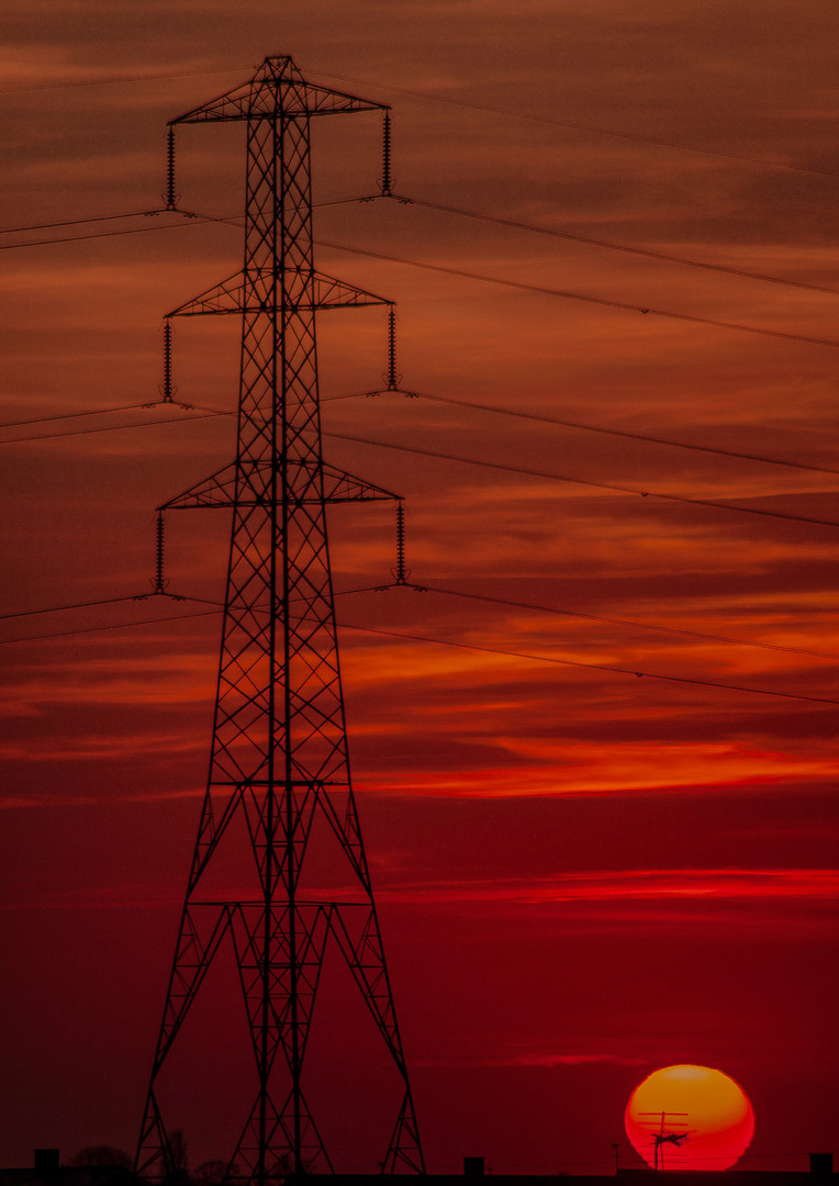 Pylon with low sunset
