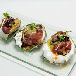 Tuna Torro - sushi grade tuna atop east coast oysters!