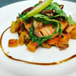 Cider Glazed Bay of Fundy Salmon with butternut squash ratatouille, _beakandskiff cider reduction, a