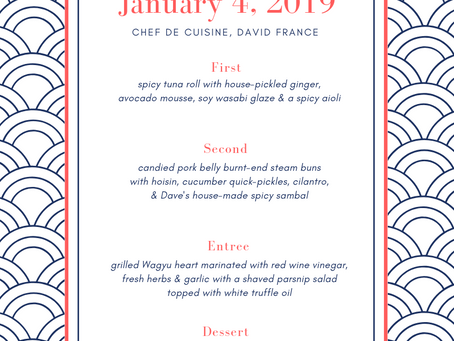 Menu Announced For Jan 4th Chef's Table