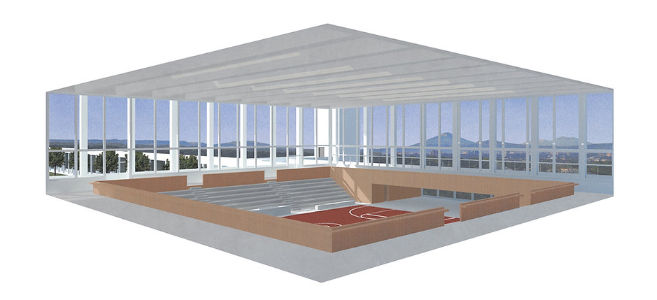 Model rendering of gym in school in Guatemala