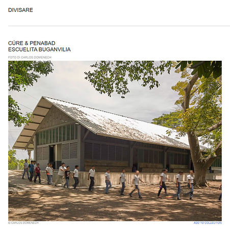 Screenshot of the Divisare website featuring the project Escuelita Buganvilia, a school in Guatemala designed by Miami based architects, Carie Penabad and Adib Cure.