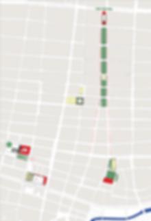 Site Plan locatig proposed public spaces in Barranquilla Colombia