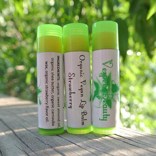 Strawberry Organic Vegan Lip Balm and $1 donation