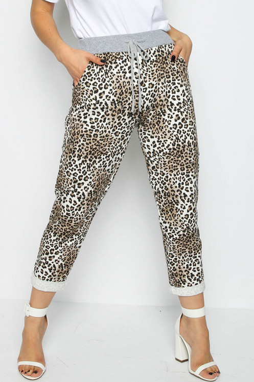 9995f2ebb0d1 Leopard Print Joggers Elasticated Waistband Turn Up Hem Drawstring Detail  Approximate length: 34.3