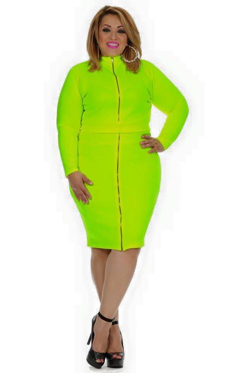 Plus Size Neon Dress
