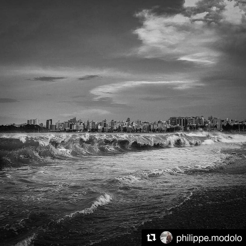 Praia de Vitoria ES em preto e branco -