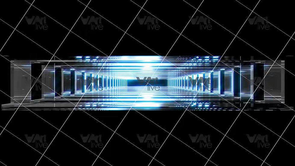 3D Geometric Shapes Silver and Blue Loop - VA-3H-0011