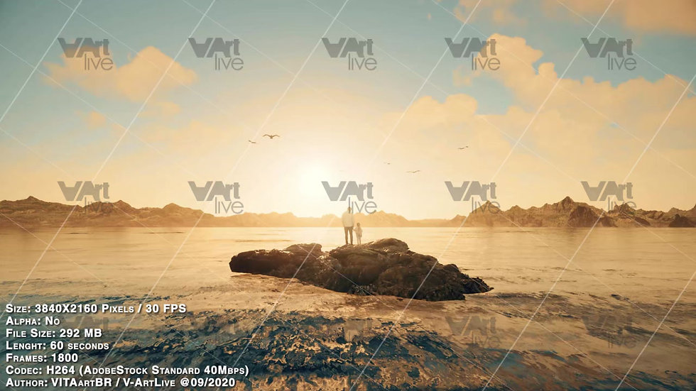 Father and daughter in ocean, island and sunset landscape - VA-IN0004
