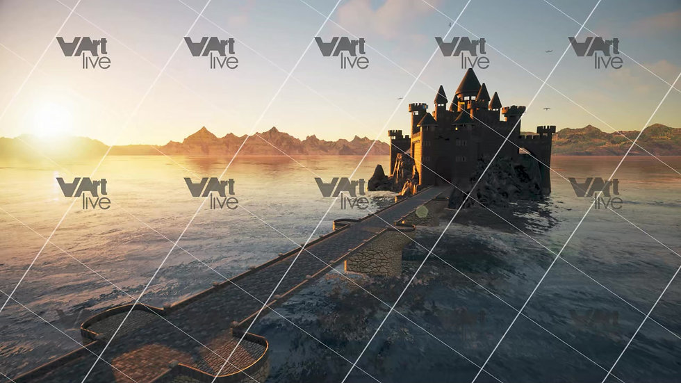 3D Magic Castle in the middle of the ocean - VA-KM-0002