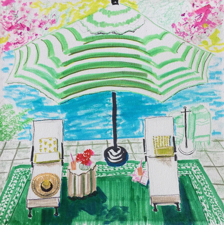 Poolside 1, Mixed Media on stretched canvas