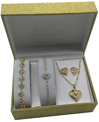 3 Shades of Gold Heart Set