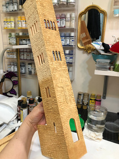 Bell tower progress, base paints with aging wash