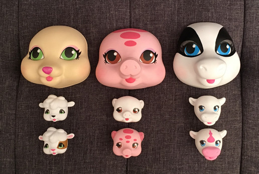 Animal faces for plush dolls