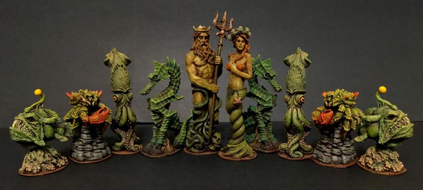 Sea-Monster Themed Chess Set- Green