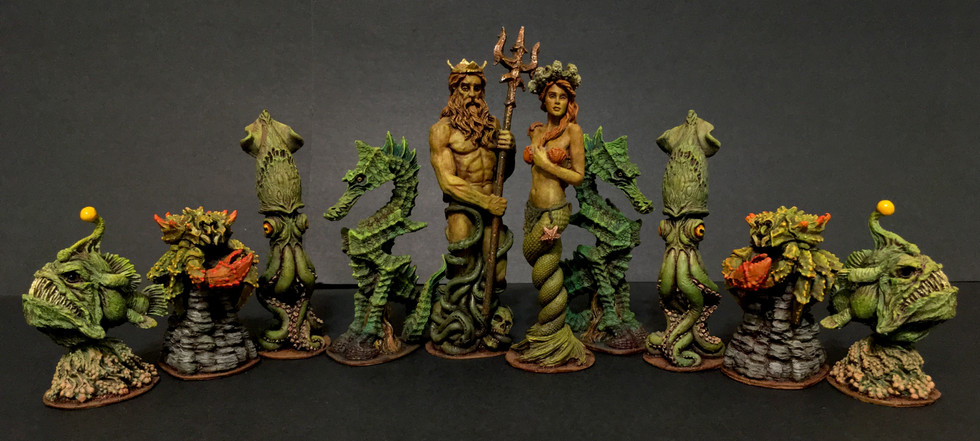 Sea-Monster Themed Chess Set- Green