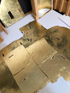 It turns out, a water-based clear coat can badly tarnish faux gold leaf. Redoing the gold leafed floor, then a clear coat with spray varnish this time!
