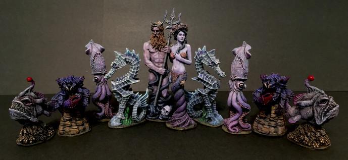 Sea-Monster Themed Chess Set- Violet