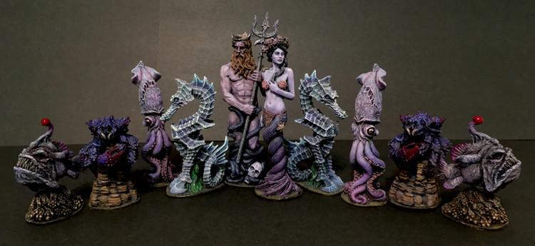 Sea Monster Themed Chess Set